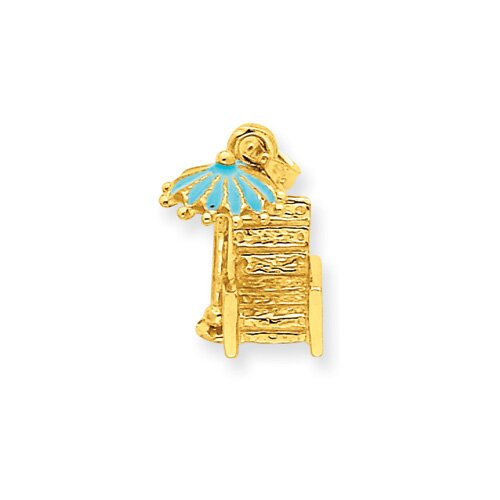 14k Aqua Enameled Beach Chair With Umbrella Pendant