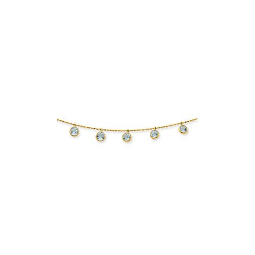 Jewelryweb 14K Aquamarine Necklace - 18 Inch- Spring Ring