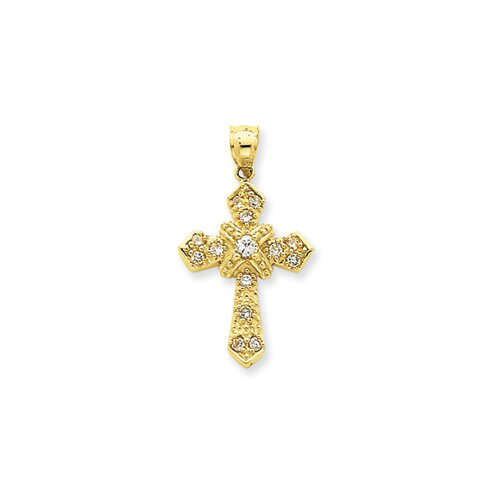 Jewelryweb 14K CZ Cross Pendant