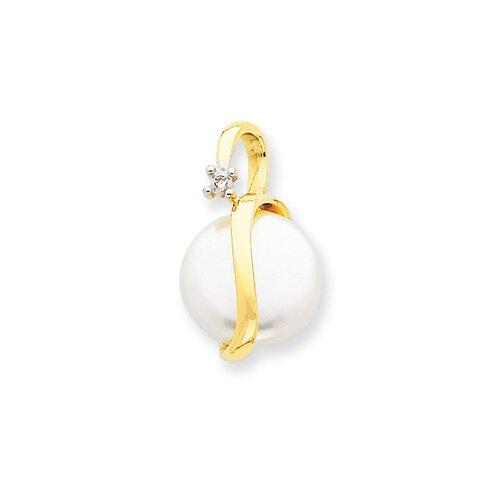 Jewelryweb 14K Diamond and Cultured Pearl Pendant