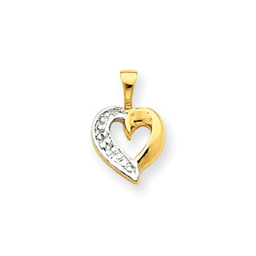 Jewelryweb 14k Diamond Heart Pendant