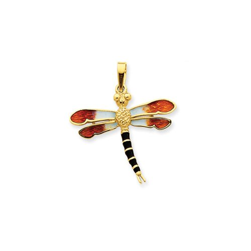 14k Enameled Black and Gold Dragonfly Pendant