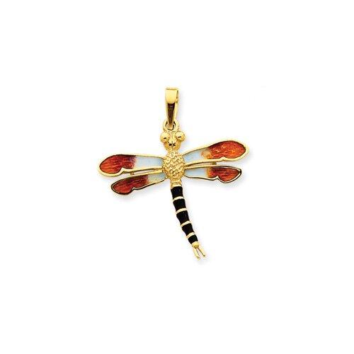 14k Enameled Black and Gold Dragonfly Pendant
