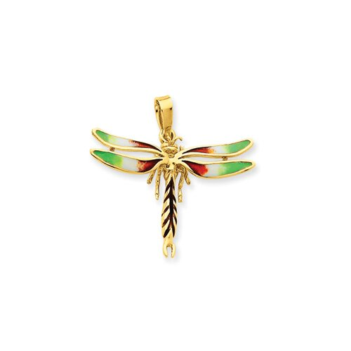 14k Enameled Green and Red Dragonfly Pendant
