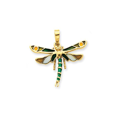 14k Enameled Green Dragonfly Pendant