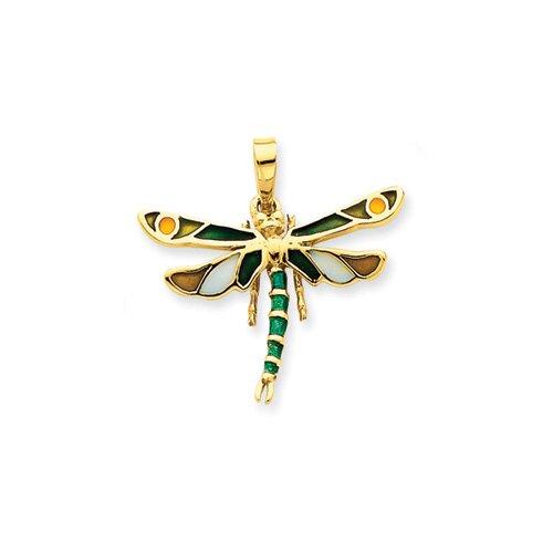14k Enameled Green Dragonfly Pendant
