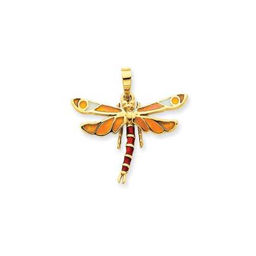 14k Enameled Yellow and Brown Dragonfly Pendant