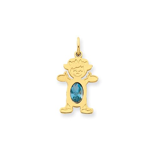 14K Girl Oval Genuine Blue Topaz December Pendant