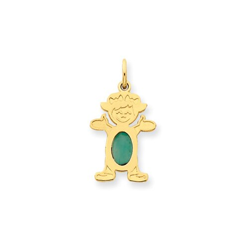 14K Girl Oval Genuine Emerald May Birthstone Pendant