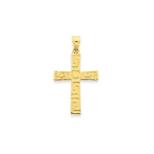 Jewelryweb 14K Greek Key Cross Pendant