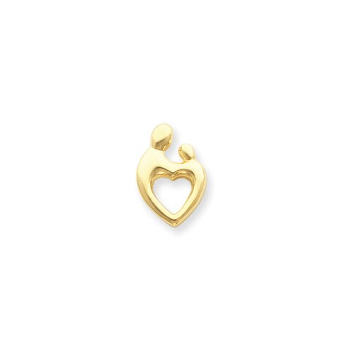 14k Heart Shaped Mother Holding Baby Pendant