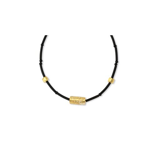 14k Murano Glass Bead Onyx and Rubber Necklace - 16 Inch