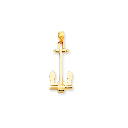 14k Navy Anchor Pendant