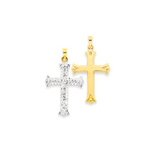 Jewelryweb 14k Reversible Crystal Cross Pendant- Measures 35x22mm