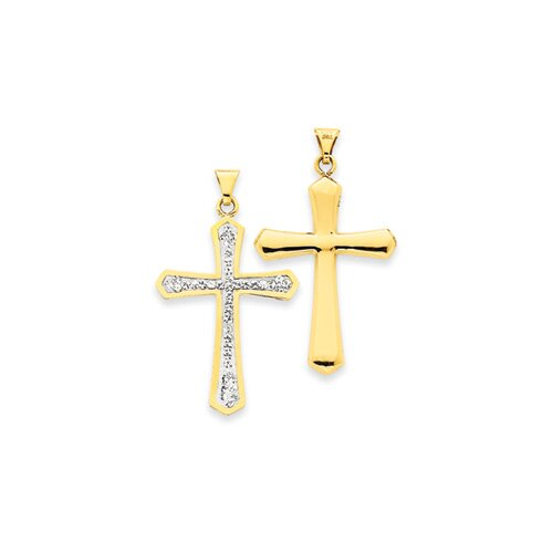 Jewelryweb 14k Reversible Crystal Passion Cross Pendant- Measures 36.1x42.9mm