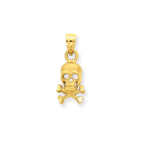 Jewelryweb 14K Skull and Cross Bones Pendant- Measures 19.2x7.9mm