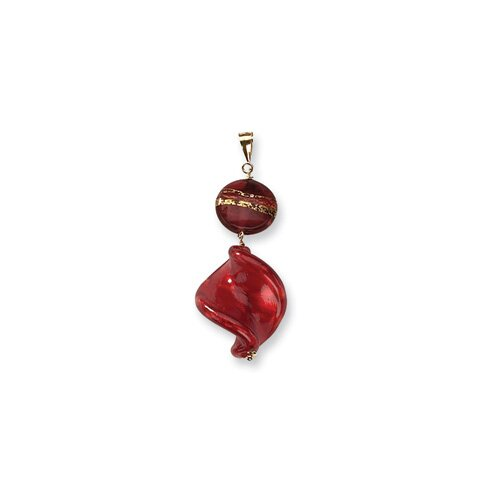 14k Spiral and Round Murano Glass Bead Pendant