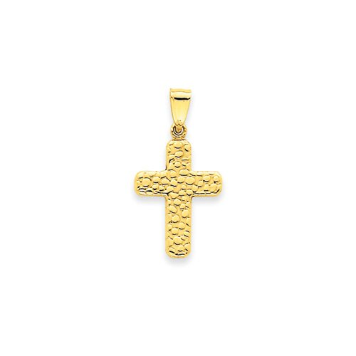 Jewelryweb 14K Textured Cross Pendant