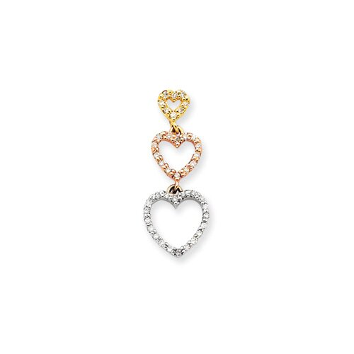 14k Tri-color Diamond Heart Pendant