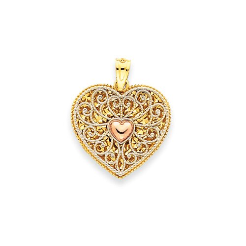 14k Tri-color Diamond-Cut Heart Pendant