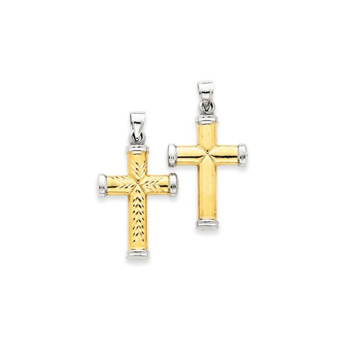 Jewelryweb 14k Two-tone and Rhodium Reversible Cross Pendant