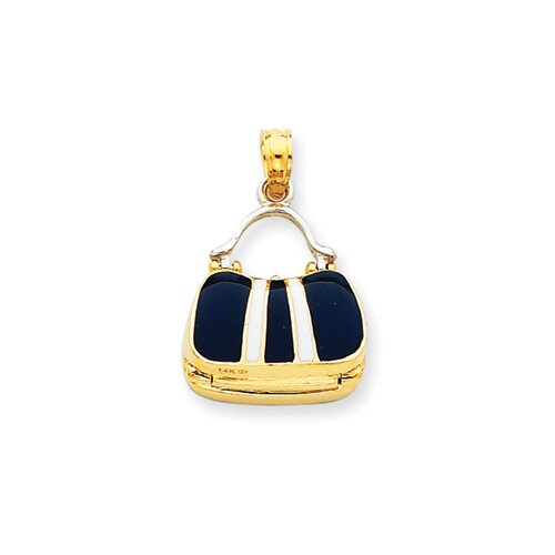 14k Two-tone Blue Enameled Purse Pendant