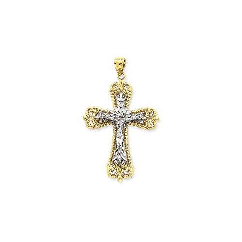 Jewelryweb 14k Two-tone Diamond-Cut Crucifix Pendant