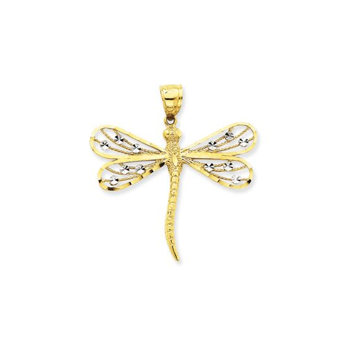 Jewelryweb 14K Two-tone Diamond-Cut Filigree Dragonfly Pendant