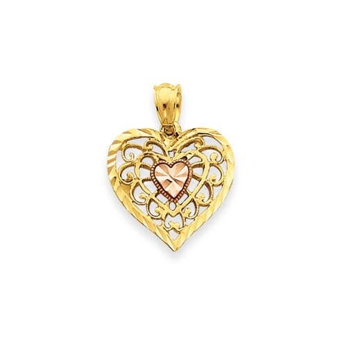 Jewelryweb 14k Two-tone Filigree Heart Pendant