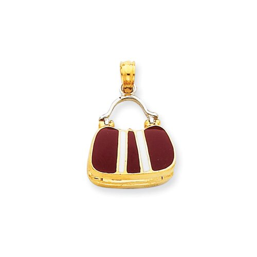 14k Two-tone Maroon Enameled Purse Pendant