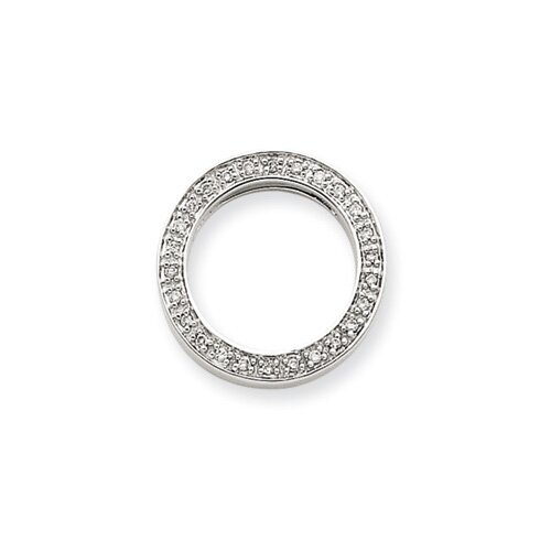 Jewelryweb 14k White Gold 1/10Ctw Circle Diamond Pendant