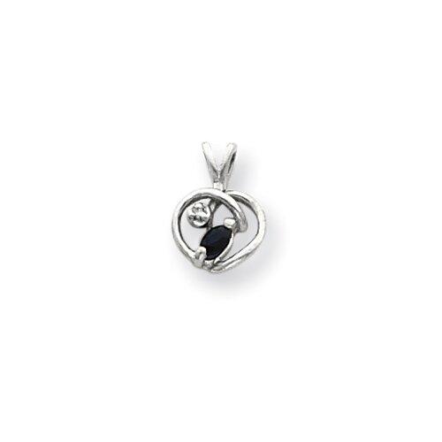 14k White Gold 4x2mmMarquise Sapphire Diamond pendant