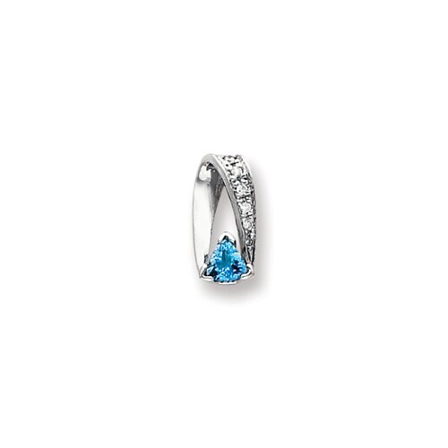 14k White Gold 5mmBlue Topaz Diamond pendant