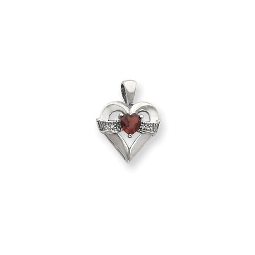 14k White Gold 5mmHeart Garnet Diamond pendant