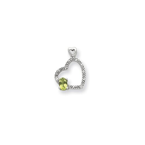 Jewelryweb 14k White Gold 6x4mmOval Peridot Diamond pendant