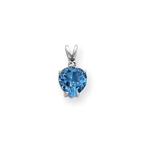 Jewelryweb 14k White Gold 8mmHeart Blue Topaz Diamond pendant