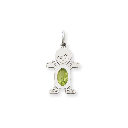 14k White Gold Boy Oval Genuine Peridot August Pendant