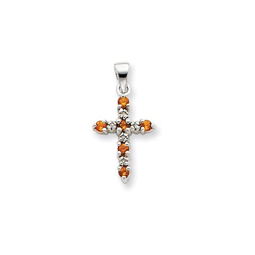 Jewelryweb 14k White Gold Citrine and Diamond Cross Pendant