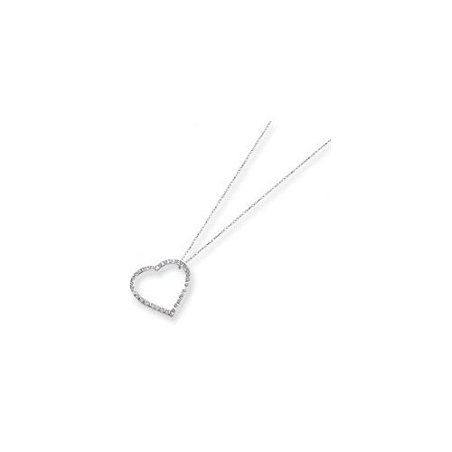 14k White Gold Diamond Fascination Large Heart Necklace