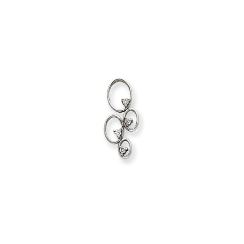 14k White Gold Diamond Pendant- Pendant Size: 29x13mm