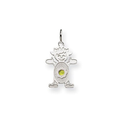 14k White Gold Girl 2.5mm Synthetic Birthstone Pendant