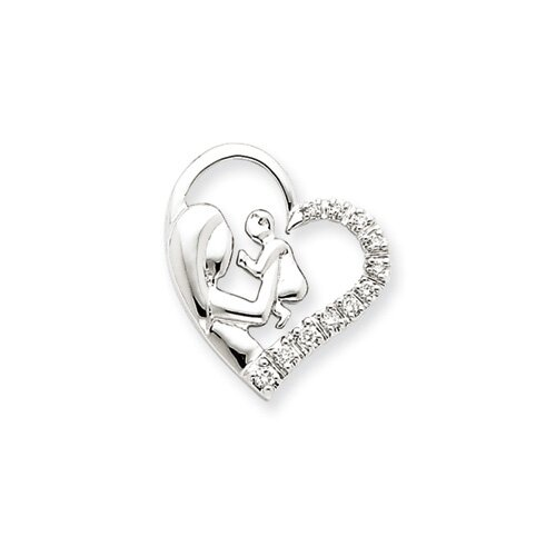 Jewelryweb 14k White Gold Mother and Baby Diamond Heart Pendant
