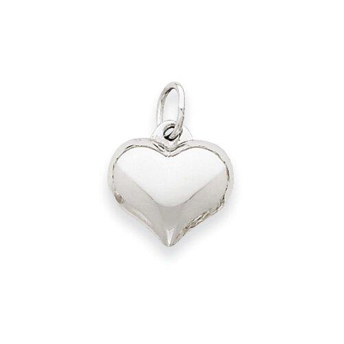 Jewelryweb 14k White Gold Puffed Heart Pendant- Measures 11.6x15.1mm