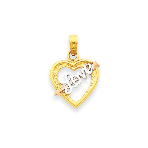 Jewelryweb 14k Yellow and Rose Gold With Rhodium Love Heart Pendant