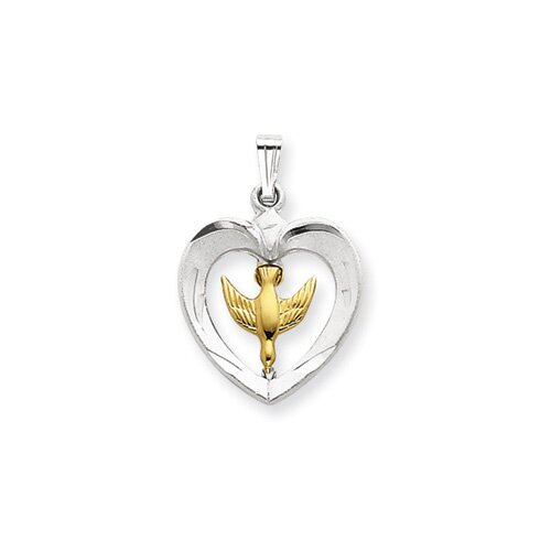 18k Gold -plated and Sterling Silver Dove Heart Pendant