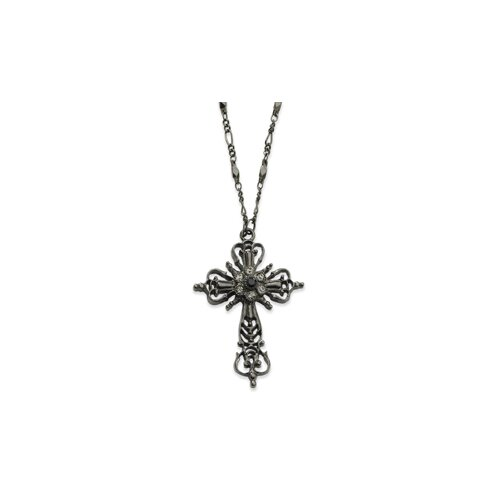 Jewelryweb Black-plated Black Crystal Cross 30 InchNecklace