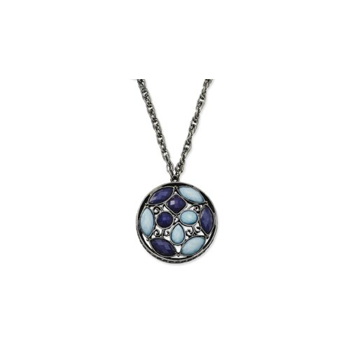 Jewelryweb Black-plated Blue Crystal Round Medallion 28 InchNecklace