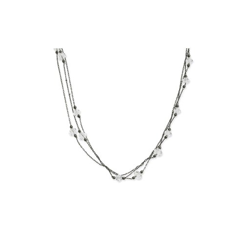 Black-plated Crystal Beaded Triple Strand 16 Inch Necklace
