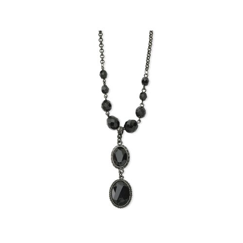Black-plated Faceted Jet Bead Drop Y 16 Inch Necklace