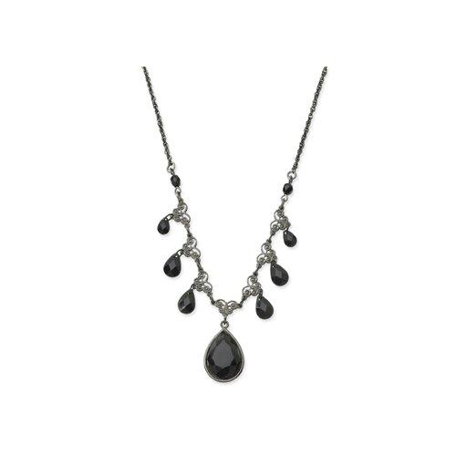 Black-plated Jet Bead Multi Teardrop 16 Inch Necklace